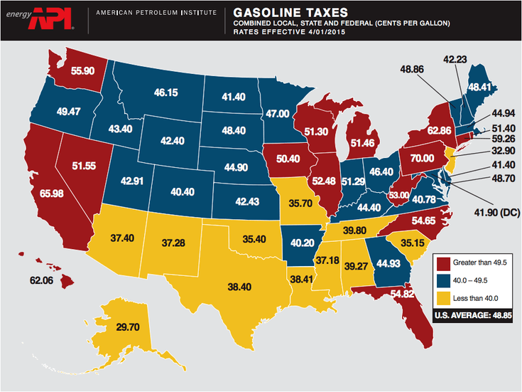 USA Gasoline Tax Map California Gas Prices - Usa on the map
