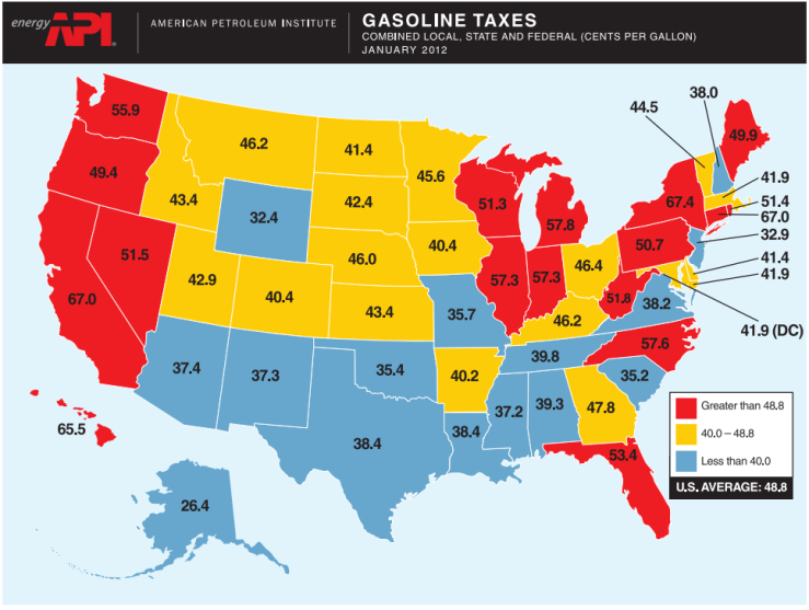 Taxes rise to average 49 5c gal across u s gasbuddy gas prices